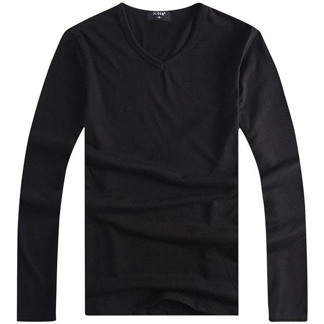 Men's Tops Tees Autumn new cotton v neck Long sleeve t shirt men fashion trends fitness tshirt