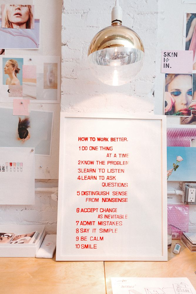 from the office of Helen Steed, Creative Director at Glossier
