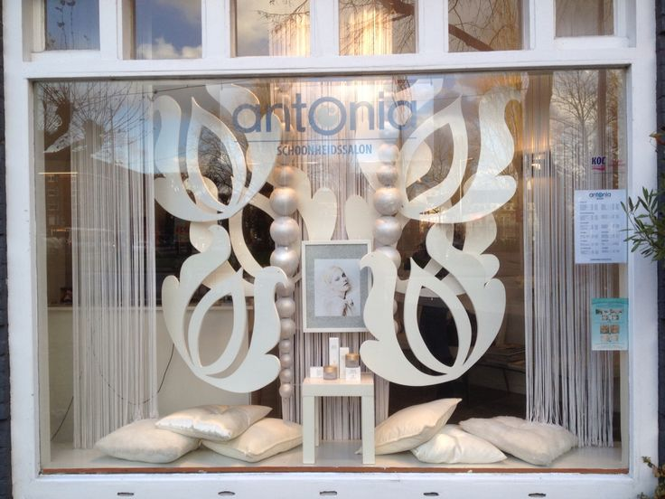 Window display @ beauty salon in Amsterdam. Styling by ...