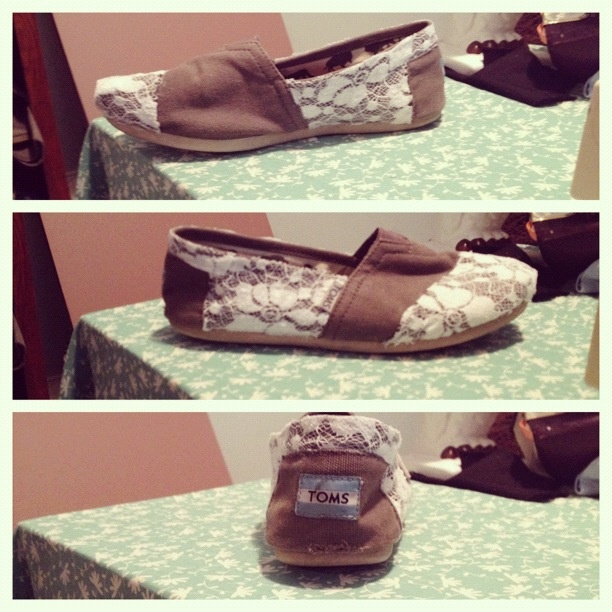 Recovered my toms! So easy and fast! Just get something to patch up your hole, and ant type of fabric glue and go for it! I just did my own little idea and I love them!!