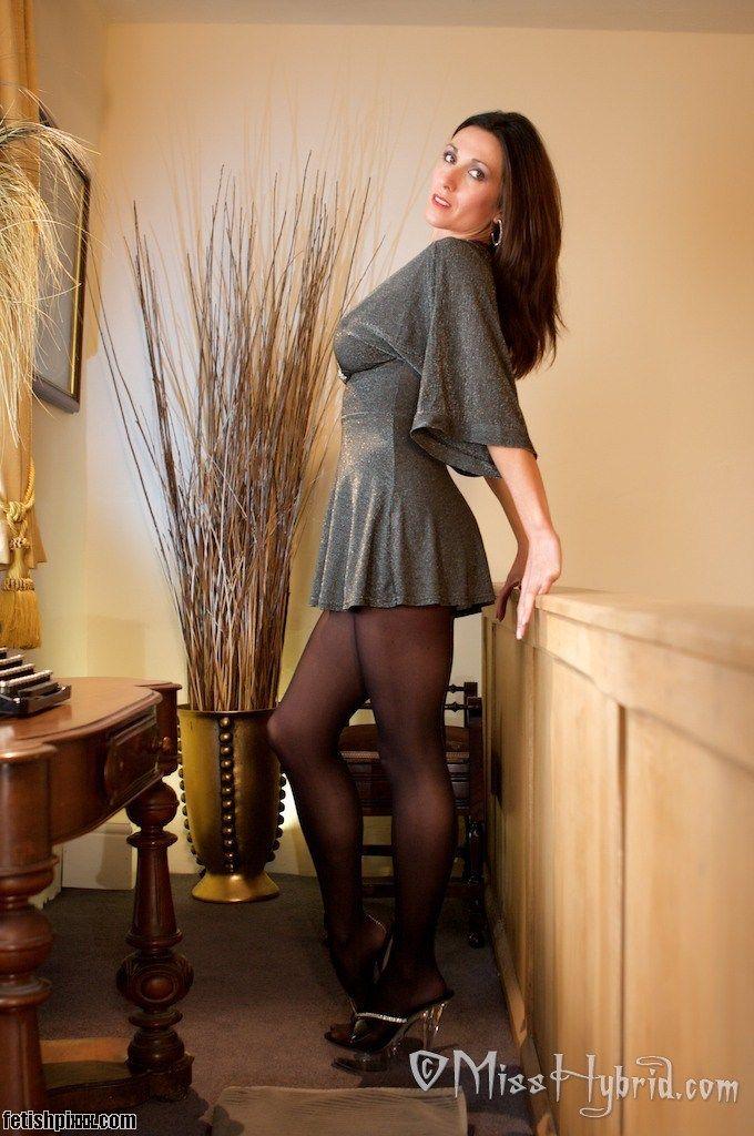 Shoes Black Nylon Pantyhose Short Skirt