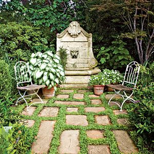 white-flowering mazus planted between flagstone...love this look!: Ideas, Secret Gardens, Fountain, Secluded Garden, Backyard, Outdoor Spaces, Design