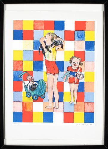 Lena Cronqvist: Flickor med katt och dockor, 1975, litografi,  52x40 cm, edition 261/275 - Bukowskis Market 8/2012
