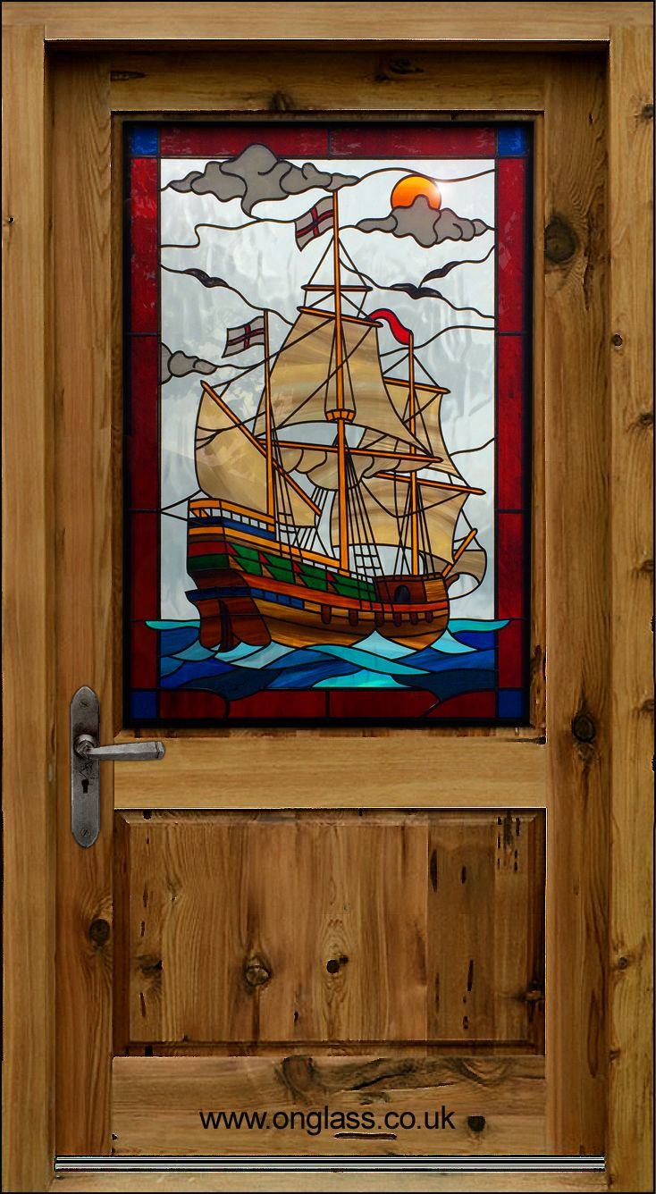 Galleon Design Pwd 1 From Our Web Brochure Bold Colours And Intricate Lead Tracery Give This Panel Its Nautical Eal Stained Gl Pinterest