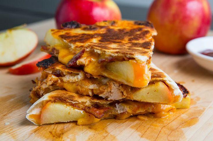BBQ Chicken, Apple, Bacon and Cheddar Quesadillas   Recipe