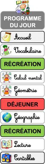 Affichage du programme du jour (étiquettes aimantées)