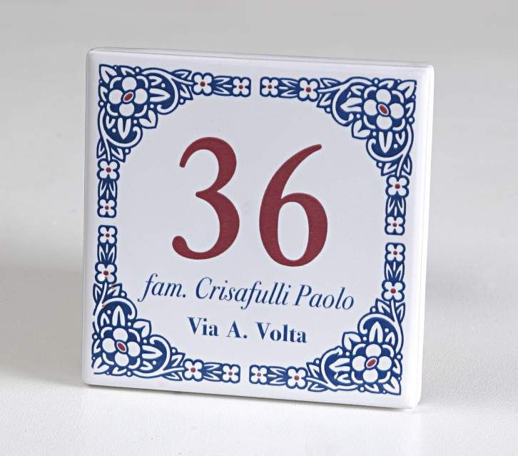Numeri civici ceramica mattonella f.to 10x10