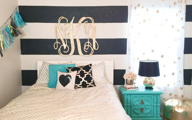 Black white and gold nursery focal wall nursery design for Black white turquoise bedroom ideas