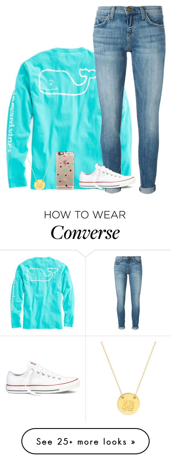 """""""first set of 2016"""" by ameliahinton on Polyvore featuring Vineyard Vines, Current/Elliott, Converse, Casetify and BaubleBar"""
