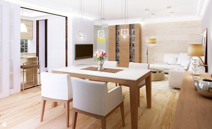 Projekt salonu i jadalni w mieszkaniu w ciepłych barwach. www.tissu.com.pl/produkt/42,z-nuta-klasyki-mieszkanie-warszawa-bielany-80m2