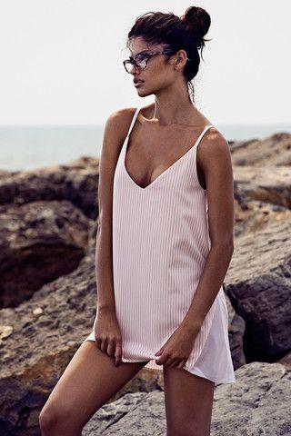 ANGELA BANG | PINK STRIPE STRAPPY DRESS €168.00 #angelabang #paradiseisle #pink #white #mesh #stripes #dress