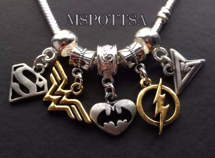 Batman Wonder Woman Superman The Flash Arrow Bracelet Charms Comics Superheroes #Handmade