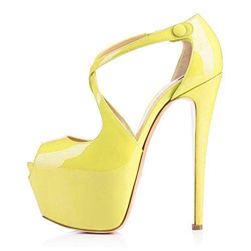 Onlymaker Damenschuhe High Heels Peep Toe Riemchen Pumps mit Plateau Lackleder Gelb EU42 - http://on-line-kaufen.de/onlymaker/42-eu-onlymaker-damenschuhe-high-heels-peep-toe-7