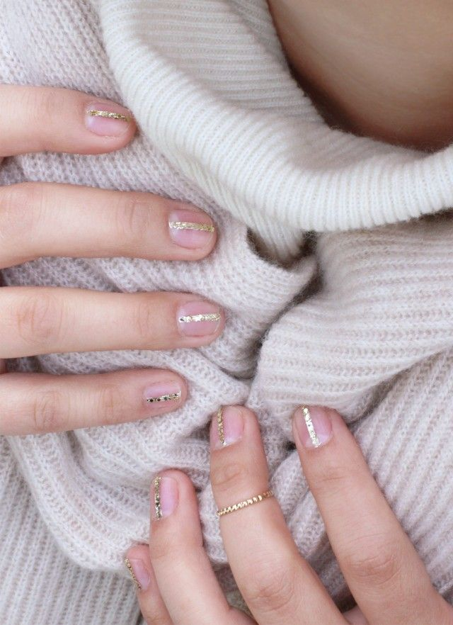 DIY Gold Glitter Striped Nails