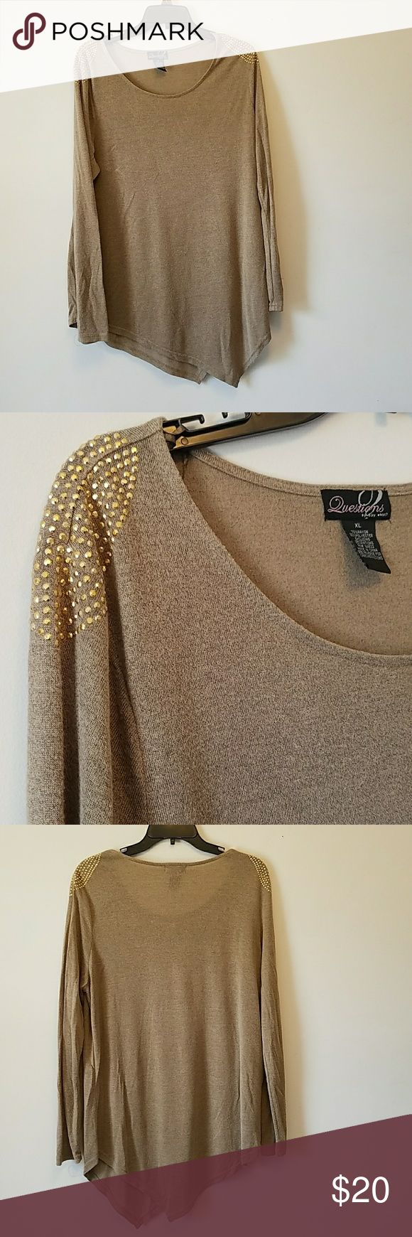 Asymmetrical Tunic Sweater Super comfy and cute sweater with gold studs on shoulders. Great condition. Sweaters