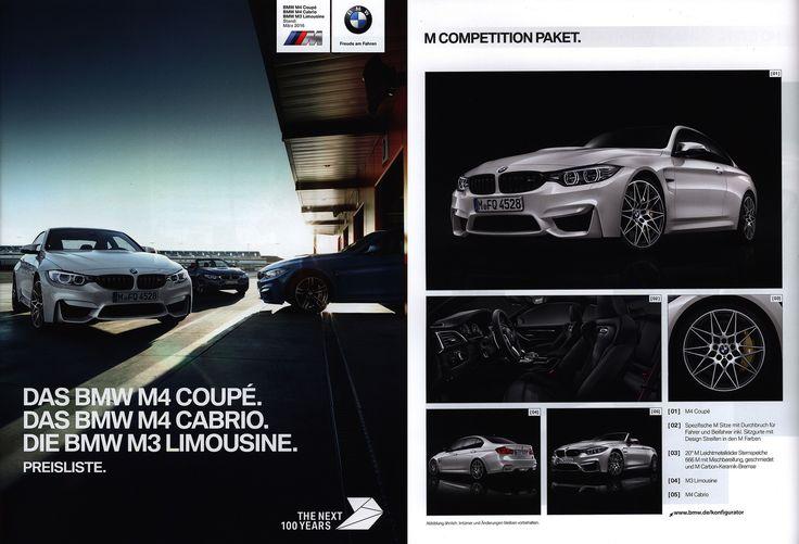 https://flic.kr/p/Smf1pq | BMW M4 Coupé. Das BMW M4 Cabrio. Die BMW M3 Limousine. Preisliste. (Daten Facts) 2016