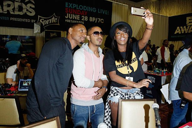 Recording artist Marques Houston (C) attends day 2 of the radio broadcast center during the 2015 BET Experience on June 27, 2015 in Los Angeles, California.