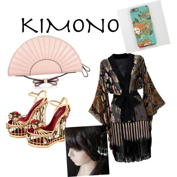 Kimono dress by renataoczak on Polyvore featuring polyvore, fashion, style, Agent Provocateur, Dolce&Gabbana, RED Valentino, clothing and kimonos