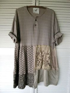 Eco upcycled clothing Tattered Romantic Patchwork dress urban funky ...