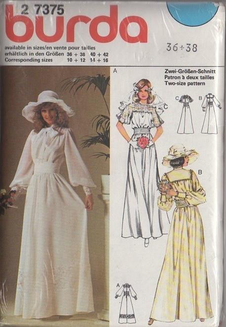 Momspatterns vintage sewing patterns burda 2 7375 for Victorian style wedding dress pattern