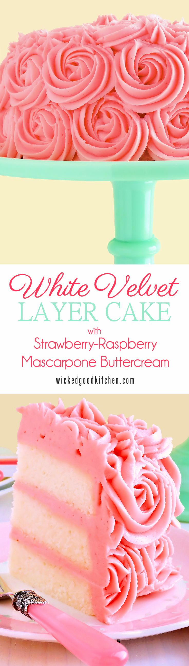 Moist, tender white cake reminiscent of its buttermilk cake cousin, Red Velvet Cake, our White Velvet Layer Cake is flavored with pure almond extract and a hint of vanilla. It is iced with a truly extraordinary frosting that tastes just like strawberry-raspberry cheesecake! @wickedgoodkitch