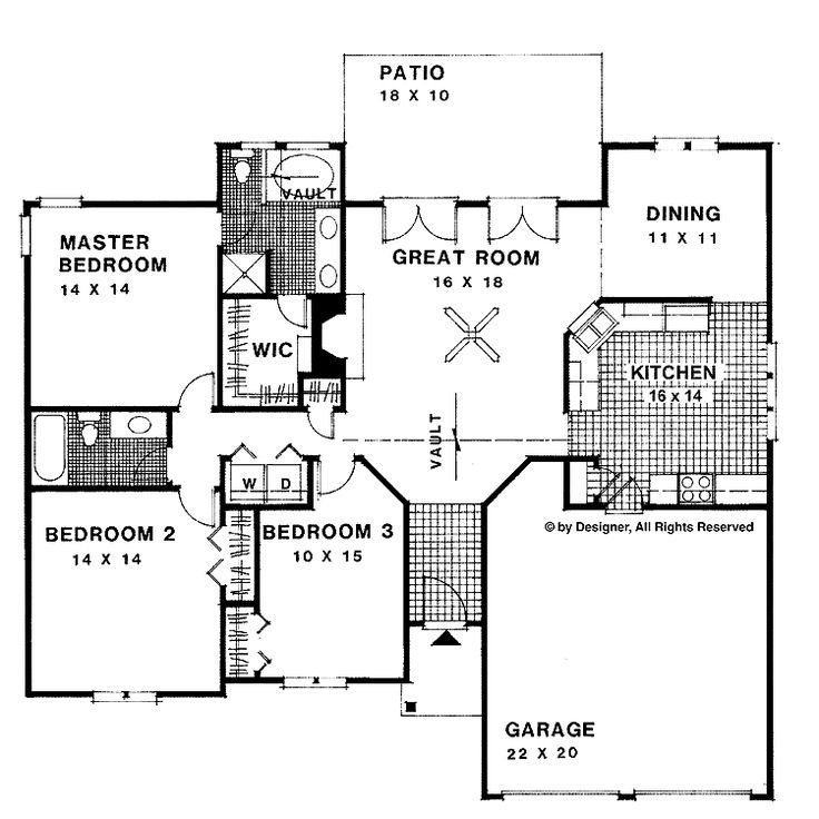 Home plans homepw03029 1 500 square feet 3 bedroom 2 for 1500 sq ft ranch house plans with garage