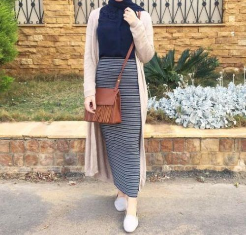 Pencil skirt with hijab-How to wear cute hijab in Ramadan – Just Trendy Girls