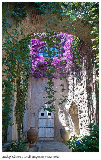 Garden Arch leading to glorious gardens...Ischia Porto, Campania, Italy.