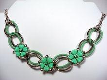 Green Plastic Flower Necklace Enamel Rhinestones