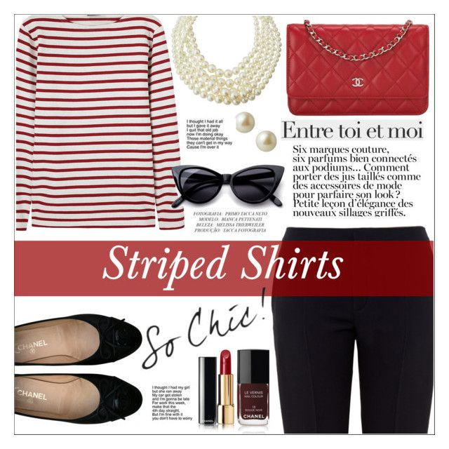 Marine Layer: Striped Shirts by ceci-alva on Polyvore featuring polyvore, fashion, style, Saint James, Chloé, Chanel, Emily & Ashley, Carolee, Retrò, Anja and clothing