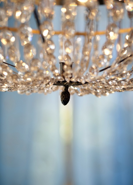 Sparkly chandeliers twinkling lights