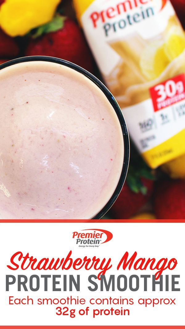 Take a blend break and try our refreshing Strawberry Mango Smoothie! Start off with 1 Premier Protein 11oz. Bananas & Cream Shake, 1 frozen banana, 1 cup of frozen mangos, 1⁄2 cup of frozen strawberries and blend until smooth to enjoy! Even better? Premier Protein has 30g of protein to keep you satisfied all day long.
