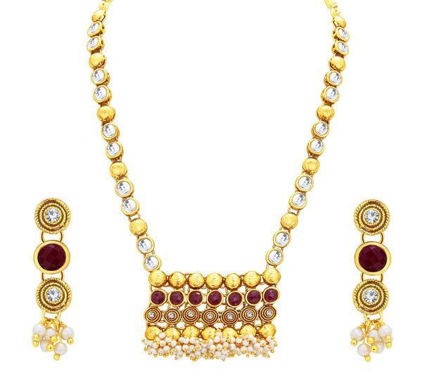 $6.28   Sukkhi Creative Jalebi Gold Plated Kundan Necklace Set For Women