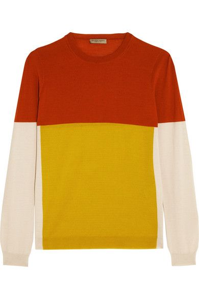 Burnt-orange, mustard and beige merino wool Slips on 100% merino wool Dry clean Made in Italy