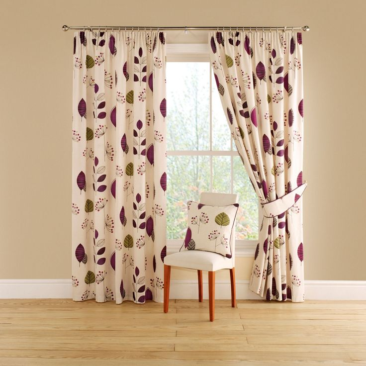 aubergine lined curtains with pencil heading