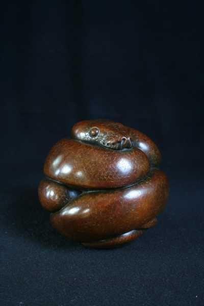 #Bronze #sculpture by #sculptor Adam Binder titled: 'Ball Python (Little Coiled Snake statuettes statues)'. #AdamBinder
