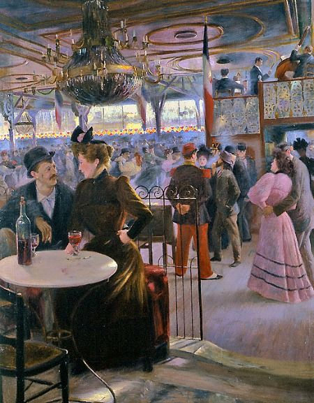 Paul Hoeniger  Moulin de la Galette, Paris  1894- love the movement of the dancers in the background