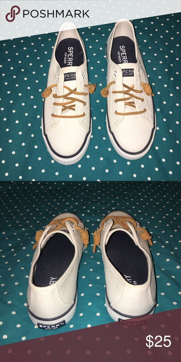 White Sperrys - Size 6 White sperrys- Womens size 6 - worn once Sperry Top-Sider Shoes Sneakers