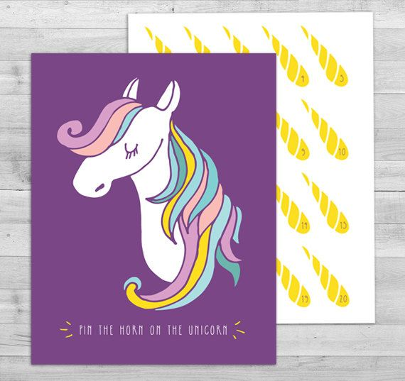 Pin the Horn on the Unicorn Game Unicorn Party by WLAZdesignSHOP