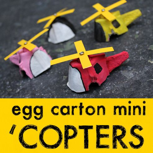 recycle craft; helicopter made from egg carton