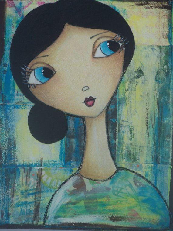 "Fine Art 8x10 Print of Mixed Media Original Painting ""Meghan"" Whimsical Girl @Gail Regan Truax://www.etsy.com/shop/JacquieWilliamson"