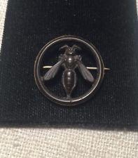 Antique Victorian Gutta Percha Vulcanite Yellow Gold Bee Insect Pin