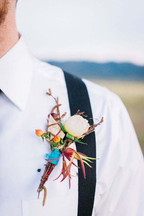 native american inspired boutonniere rom Utah styled shoot featured in #Trendy #Bride Magazine http://trendybride.net/native-inspired-wedding-shoot-magazine-feature/