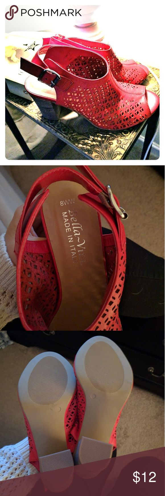 Red Bella vita heeled sandles These beautiful sandles have only been worn once. They will make a great forthcoming of July statement or can be worn through the the summer and fall for a pop of color! Plus they are wide for a little more comfort! Bella Vita Shoes Heels