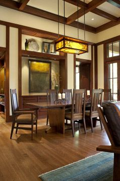 Arts and crafts style dining room. Arts and Crafts Period - included Craftsman Style, Prairie/Mission Style, Art Nouveau Style. Do your research to do this style well as it holds much integrity overall.