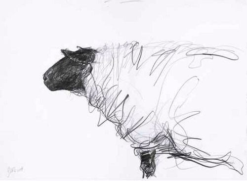 Jason Gathorne-Hardy, Suffolk Ewe Looking Left, White House Farm, Great Glemham, Autumn (2008)