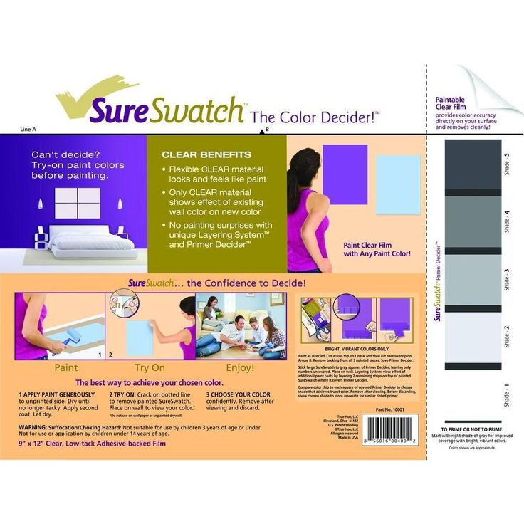 SureSwatch 9 In. X 12 In. Paintable Clear Film · Interior Paint ColorsPaint  ...