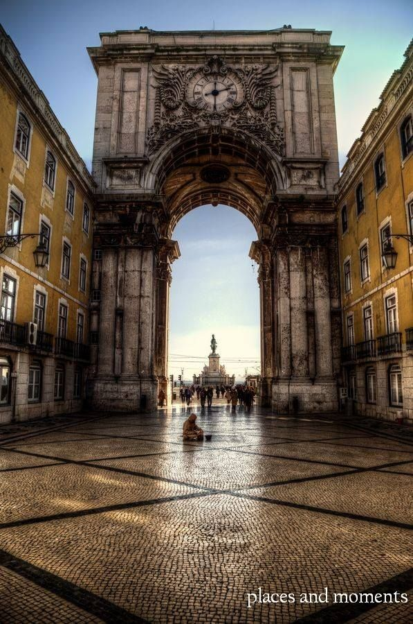 Beautiful arch in the Rua Augusta to Praza do Comercio,Lisbon,Portugal.