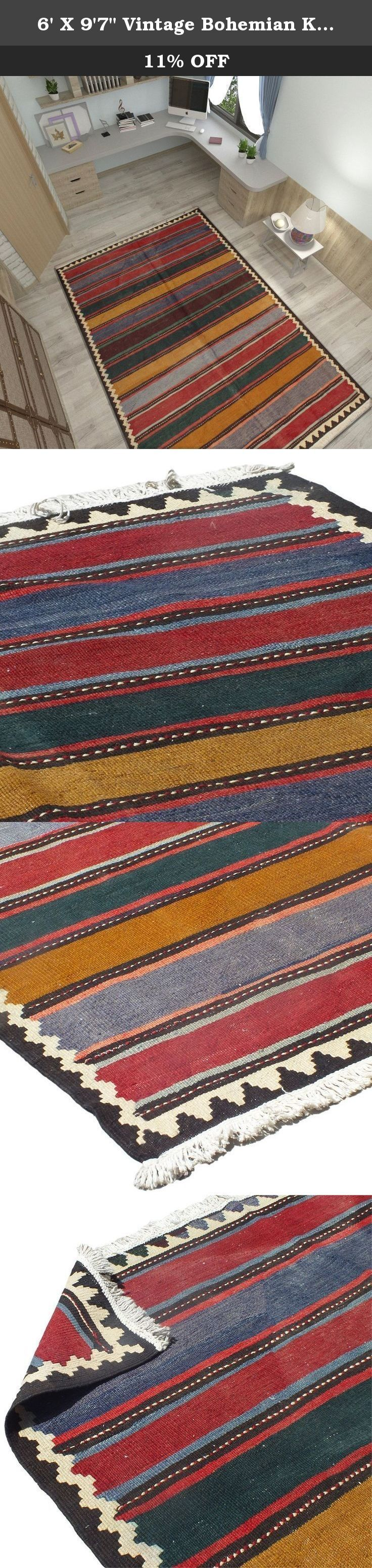 """6' X 9'7"""" Vintage Bohemian Kilim rug in excellent condition , Striped Red and Blue and Beige Hand knotted Rug. Code: R0101480, Vintage Floor Rug, Oriental Area Rug, Traditional Fancy Carpet. Traditional designed hand woven rug which comes from pure lamb wool sheared at the Beginning of spring and a mixture of organic colors. It would make your place more attractive with its Wonderful color. Really traditional and Classic design. As an advantages of years of being in this business our…"""