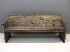 NIEUW Bank met schuine rugleuning van steigerhout in blackwash (15620131133) € 200 voor 130 cm breed